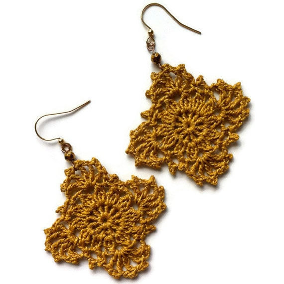 Gypsy Lace Crochet Earrings Handmade Lace in Goldenrod Boho Chic Crocheted Dangle Earrings Gift for Her Mothers Day Birthday