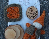 Toddler Waldorf Play Bag - Hand Knit Gnome - Birch Rounds - Personalized Mushroom Ornament