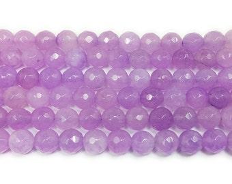 Purple Thistle Jade Faceted Gemstone Beads