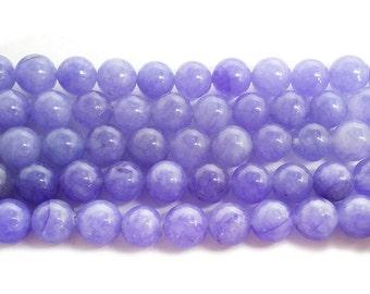Periwinkle Purple Jade Round Gemstone Beads