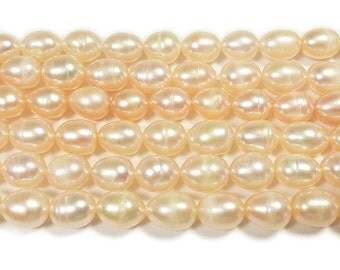 High Gloss Peach Rice Freshwater Pearl Beads