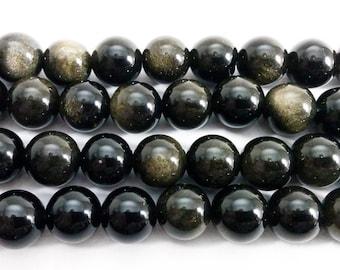 Gold Obsidian Round Gemstone Beads