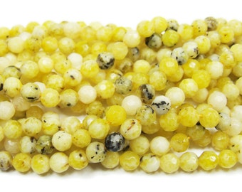 Lemon Jade Faceted Gemstone Beads
