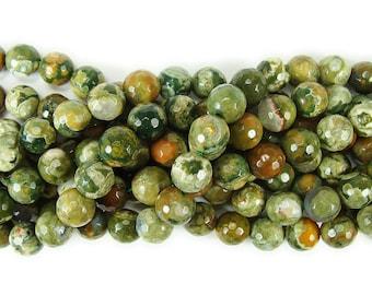 Rhyolite Jasper Faceted Gemstone Beads