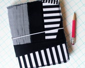 Fabric planner, Quilted journal cover, fauxdori black and white stripes
