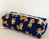 Long box pouch - shiba-inu in navy