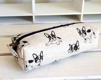 Long box pouch - new French bulldog (natural)