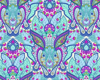 Tula Pink Slow and Steady The Hare in Blue Raspberry Free Spirit cotton quilt fabric - one yard or by the yard