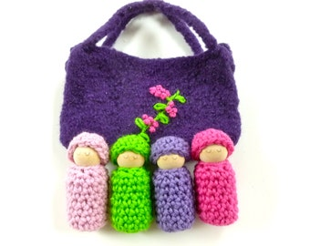 Bunting dolls  in a  pouch set wood peg dolls felted bag