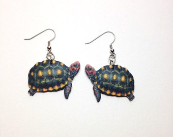 Handcrafted Plastic Red Footed Tortoise Earrings Made in USA