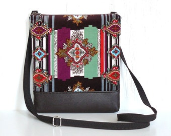 Boho Crossbody Bag, Fabric Hip Purse, Cross Body Purse, Velvet Sling Bag in Espresso, Plum, Green and Red