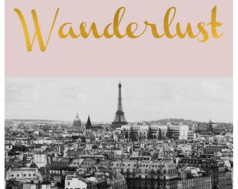 French Photograph - Paris Photography - Fine Art Photograph - Typography - Wanderlust - Pink - Gold - Black and White - Alicia Bock - Quote