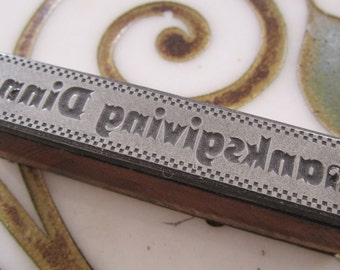 Vintage Letterpress Printers Block Thanksgiving Dinner