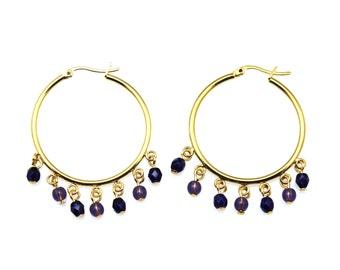Purple Gold Hoop Earrings, Purple Hoop Earrings, Purple Hoops, Purple Bead Hoop Earrings, Purple Glass Hoop Earrings, Large Purple Hoops