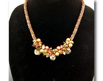 "DarleenMB, SRA, handmade, beaded kumihimo rope necklace, ""Autumn Fire"""