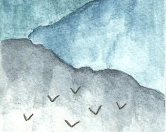 Original Ink Wash Postcard Birds and Misty Mountains 4x6