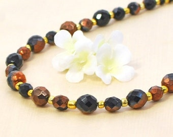 Black Bronze Crystal Necklace Prowlness - Black Jewelry - Black Necklace - Bronze and Black