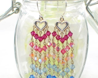 Pink to Blue Crystal Chandelier Earrings - Hue Changes Crystal Earrings - Pink to Blue Heart Chandeliers - Gift for Girlfriend
