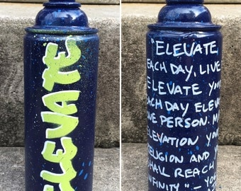ELEVATE recycled spray paint can stencil art blue lime green white