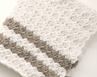 Easy Crochet Blanket Pattern Adult / Child Tutorial Afghan Throw Textured Stitch Reversible 3 sizes Guide for using your favorite size hook