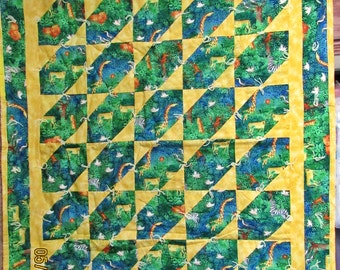Childrens Jungle Animals Patchwork Knotted Handmade Quilted Coverlet,Wall Hanging