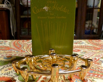 Gold Tone Vintage Oval Flower Taper Candle Holder Multiple Candles 11 Thin Candle Holders Holiday Lighting Original Box Candelabra Bullet