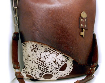 Leather Messenger Bag Leather Cross Body Bag Leather Boho Bag with Doily and Antique Key XL - READY to SHIP