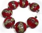 Handmade Lampwork Beads, Glass Beads, Red Raku Squeezed Beads, Red Lampwork Beads