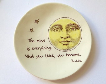 Buddha . The Mind is Everything, What you Think you Become . Ring Dish . Yellow Moon . Star . Jewelry Dish . Celestial