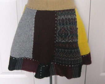 Funky wool skirt . wool skirt . made from recycled sweaters . sweater skirt