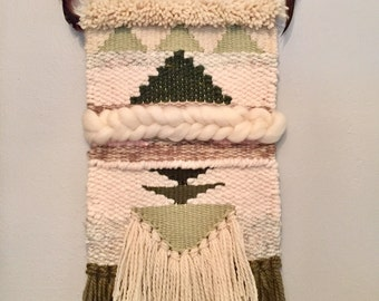 Green and neutral woven wall hanging tapestry