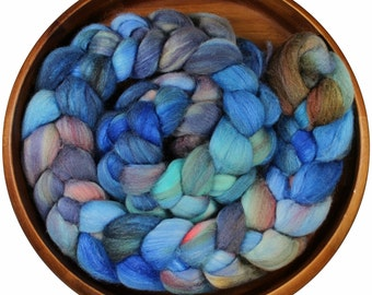 Anchor - hand-dyed Merino wool and silk (4 oz.) painted combed top