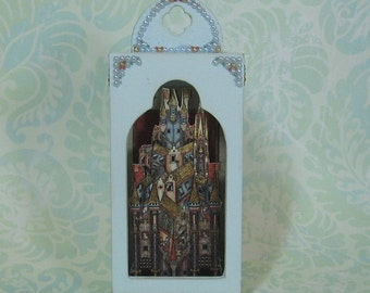Miniature Medieval Castle Shadow Box in Pale Blue
