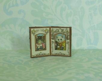 Dollhouse Miniature Double Fold Frame with Kitties