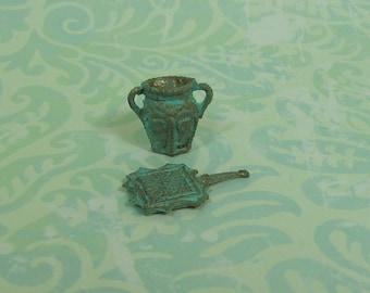 Dollhouse Miniature Verdigris Trivet and Small Vase Set