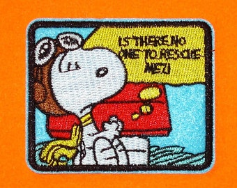 Peanuts Snoopy Red Baron Rescue Me Retro 80s Vintage Style Blue Embroidered Iron Sew On Patch