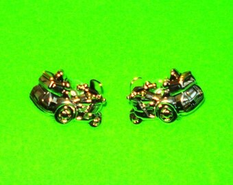 Vintage 1980s Motorcycle Touring Bike Scooter Silver and Gold Post Earrings