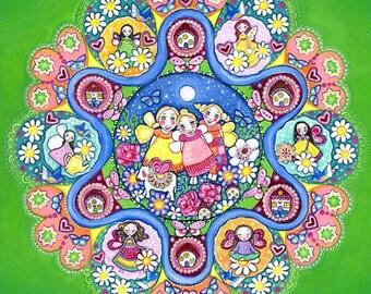 Fairy Garden A3 Art Print Lindy Longhurst Green Mandala Art Original Art For Kids Wall Decor Gift for Little Girl Fairy Art 3 sisters art