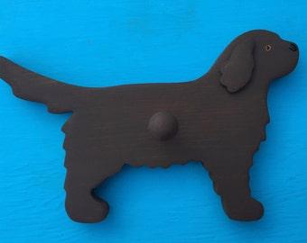 Newfoundland BROWN Newfie Dog Wood Leash Holder Hook