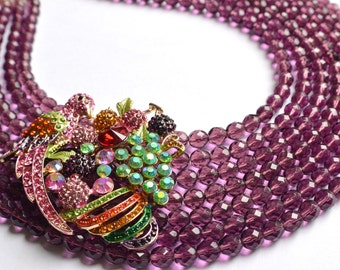 The Bahia- Parrot Brooch and Purple Czech Glass Statement Necklace