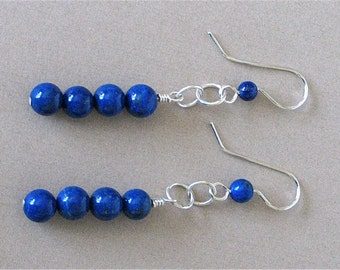 Long Lapis Earrings - Long Lapis Lazuli Dangle Earrings 2 1/2 inches - Handmade Sterling Silver Earwires - Blue Boho Swinging Long Earrings