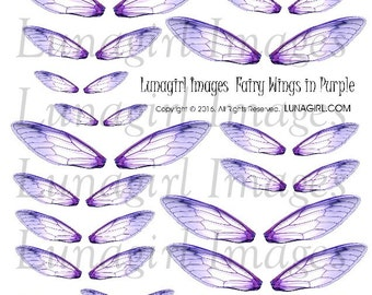 Purple FAIRY WINGS, digital collage sheet, DOWNLOAD, printable ephemera, dragonfly faerie altered art fairies fantasy magical embellishments