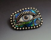 Mosaic Eye Ball Pin brooch polymer clay iridescent blues greens sterling silver beads silicone doll eye black and white elements