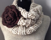 Oatmeal Tweed Cowl Chunky Scarf Neck Warmer with Flower Statement Brooch and Felted Pin Back