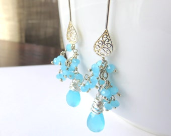 Chalcedony Gemstone Dangle Earrings - Delicate Blue Cluster Earrings - Sterling Silver Wire Wrapped -Gift for Her