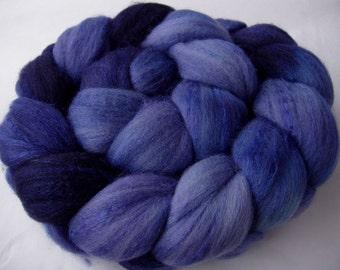 Hand painted merino silk spinning fiber, felting wool, roving, 50/50 blend, nuno felting wool, needle felting wool,  blue wool, 100g/3.5oz