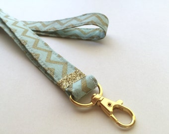 Gold Chevron  lanyard, ID Lanyard with swivel clasp, mint cute lanyard, key strap, badge holder