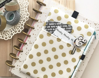 Gold dots Pocket Planner Pouch - planner band - planner cover - planner cover pouch - gold planner cover - gold - polka dots - planner pouch