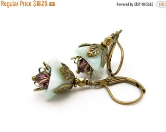 Flower Earrings, Aqua Flower Earrings, Vintage Glass Flowers, Aqua Bridesmaid, Aqua Blue Wedding, Amethyst Purple Swarovski Crystals