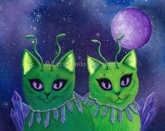 Alien Cats Art Cat Painting Space Cats Green Alien Cat Purple Sci-fi Art Crystals Fantasy Cat Art Print 8x10 Cat Lovers Art